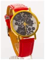 Czerwony zegarek damski na skórzanym pasku z motywem koronki