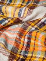 Ecru-żółty szalik damski w kratę