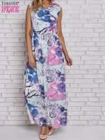 Fioletowa sukienka maxi w kwiaty