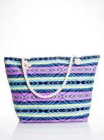 Fioletowa torba plażowa w azteckie wzory
