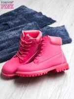 Fuksjowe jednolite buty trekkingowe damskie traperki ocieplane