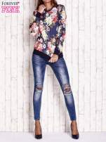 Granatowa bluza z kwiatowym motywem