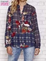 Granatowa koszula w kratę z kwiatami