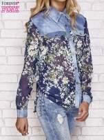 Granatowa koszula w kwiaty ze wstawkami z denimu