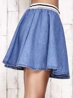 Granatowa rozkloszowana spódnica z gumką w pasie