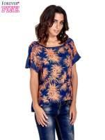 Granatowy t-shirt z nadrukiem w palmy