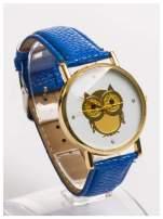 Granatowy zegarek damski z sową na skórzanym pasku