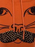 """""""HipsterCat' Pomarańczowa bluza z nadrukiem kota"""