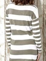 Khaki długi sweter w szerokie paski Funk n Soul