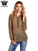Khaki koszula mgiełka w geometryczne wzory