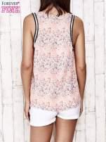 Koralowa bluzka koszulowa w łączkę