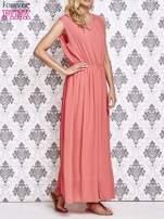 Koralowa grecka sukienka maxi z koronką z tyłu