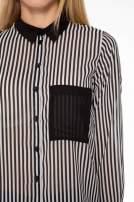 Koszula mgiełka w paski z kontrastową kieszonką, mankietami i kołnierzykiem