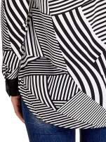 Koszula w zebrę z kontrastowymi mankietami i listwą