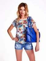 Niebieska torba shopper bag z odpinanym paskiem