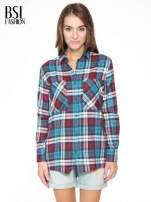 Niebiesko-czerwona bawełniana dłuższa koszula w kratę