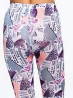 Różowe legginsy z motywem newspaper print
