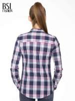 Różowo-granatowa koszula w kratę z kieszeniami