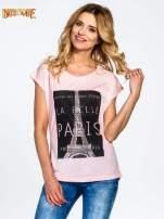 Różowy t-shirt z motywem Paryża