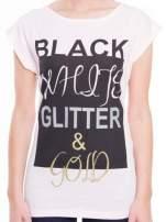 Różowy t-shirt z nadrukiem tekstowym z efektem glitter