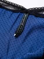 STRADIVARIUS Niebieska sukienka bieliźniana w groszki z koronkowym wykończeniem