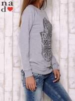 Szara bluza z motywem dłoni