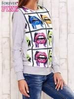 Szara bluza z nadrukiem ust