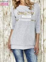 Szara bluza ze złotym napisem i suwakiem