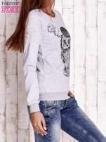 Szara bluza ze zwierzęcym nadrukiem