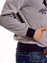 Szara ocieplana bluza męska z napisem CALIFORNIA i kapturem