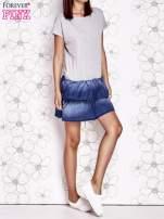 Szara sukienka dresowa z jeansowym dołem