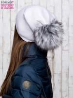 Szara wełniana czapka z futrzanym pomponem