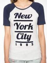 Szaro-granatowy t-shirt z nadrukiem NEW YORK CITY 1983