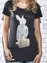 Szary t-shirt z nadrukiem królika Funk n Soul