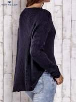 TOM TAILOR Granatowy wełniany sweter o grubszym splocie
