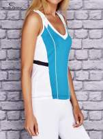 Turkusowo-biały damski top sportowy z nadrukiem na plecach