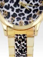 Złoty zegarek damski na bransolecie z motywem panterkowym