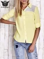 Żółta koszula damska z koronkową górą