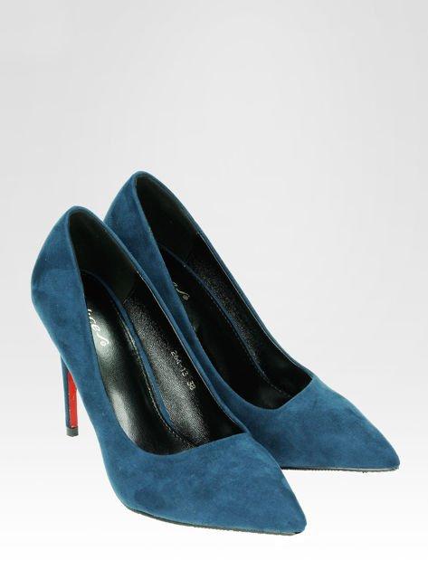 Niebieskie szpilki w szpic z zamszu faux suede                                  zdj.                                  2
