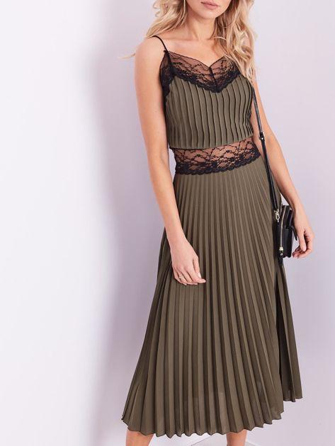 BY O LA LA Khaki wieczorowa sukienka maxi                              zdj.                              2