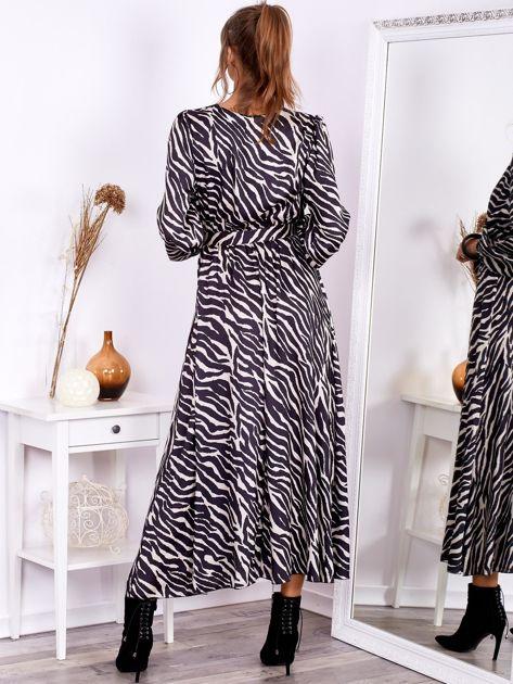 SCANDEZZA Czarno-beżowa sukienka maxi z nadrukiem pasków zebry                              zdj.                              2