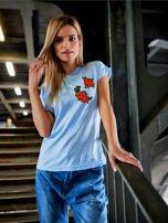T-shirt damski błękitny z naszywkami                                  zdj.                                  1