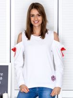 Biała bluza cut out z wstążkami                                  zdj.                                  1
