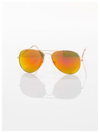 AVIATORY Okulary pilotki lustrzanki czerwono-złote