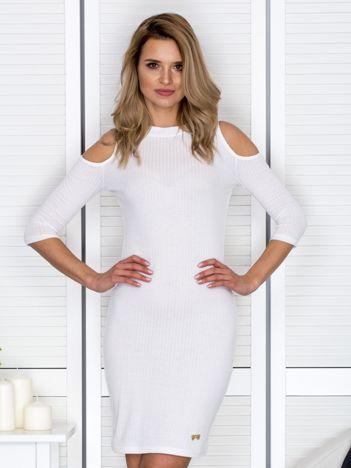 Biała sukienka cold arms prążkowana