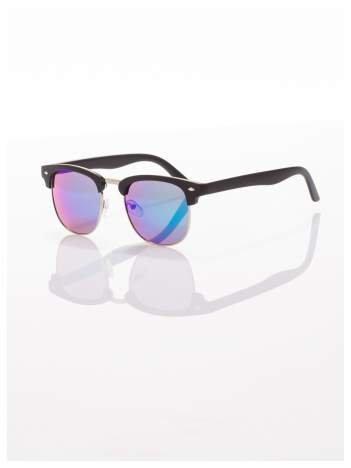 Czarne okulary przeciwsłoneczne lustrzanki niebiesko/zielone typu CLUBMASTER
