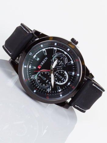 Nowoczesny i duży męski zegarek z 3 chronografami na tarczy. Pasek JELLY.