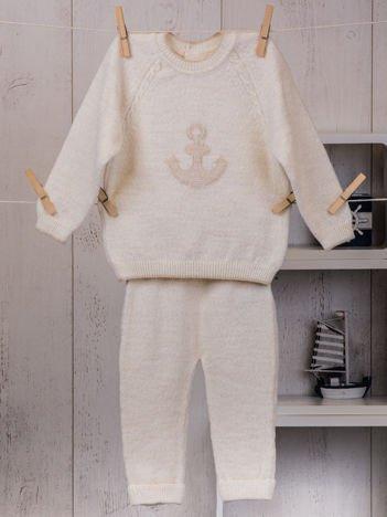 2-częściowy komplet niemowlęcy dla chłopca lub dziewczynki ze sweterkiem ecru