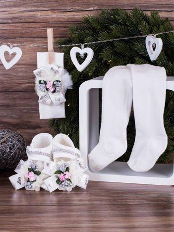 3-elementowy komplet wizytowy dla dziewczynki z srebrnym kwiatuszkiem biały