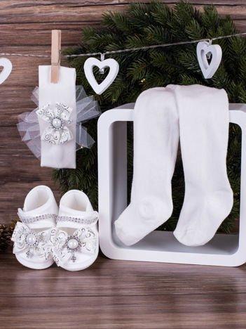 3-elementowy niemowlęcy komplet wizytowy dla dziewczynki z białą kokardą